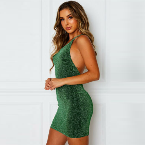 One Shoulder Sleeveless Bodycon Dress Formal Evening Party Glitter Dresses