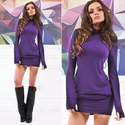 Women Long Sleeve Thumb Out Dress With Pockets