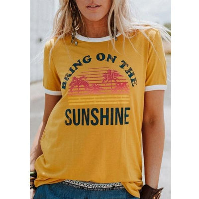 Plus Size Women Short Sleeve Bring On The Sunshine Print O-Neck T-Shirt Tops Tee