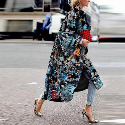 Fashion Starry Sky Printed Long Sleeve Coat