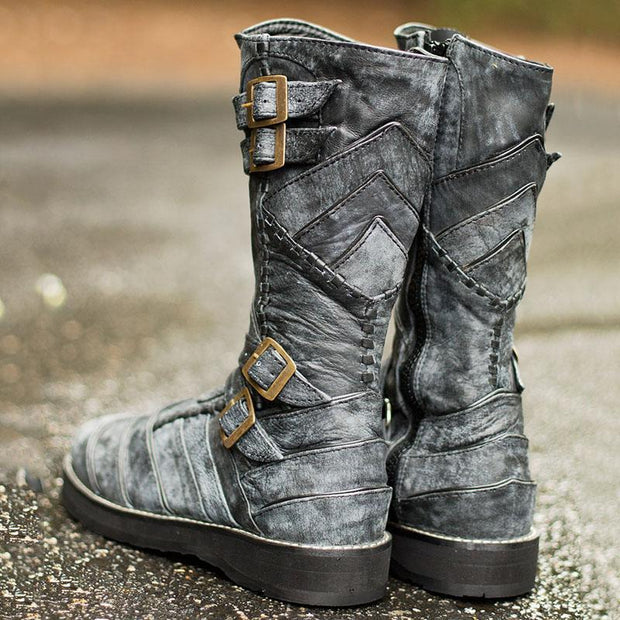 Men's Retro Buckle High Boots