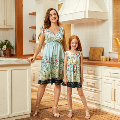 Mommy and Me Floral Mint Green elegant Slip Matching Dresses