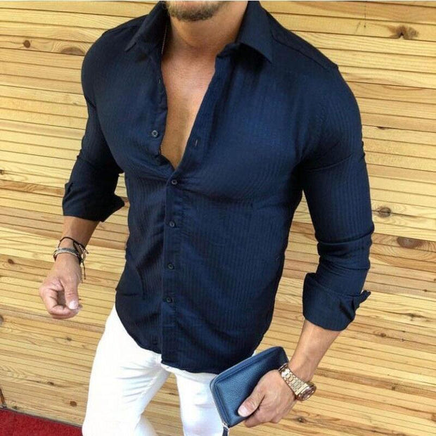 Fashion Lapel Collar Slim Fit Plain Shirt