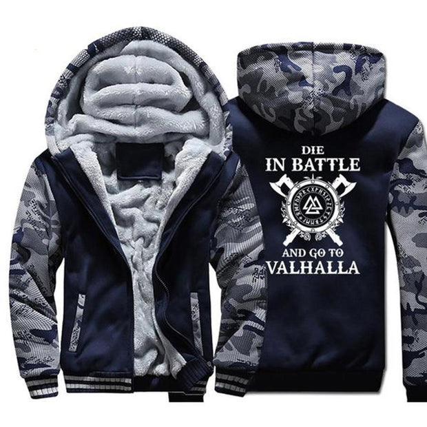 Men Men Hooded Sweatshirt Coat Winter Warm Fleece Thick Son of Odin Hoodie Jacket