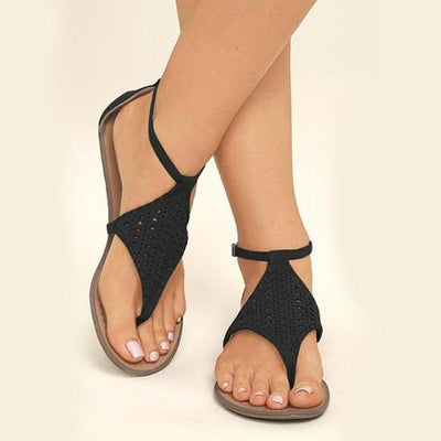 Women Plus Size Flat Shoes Cut Outs Flip Flops Casual Beach Sandal