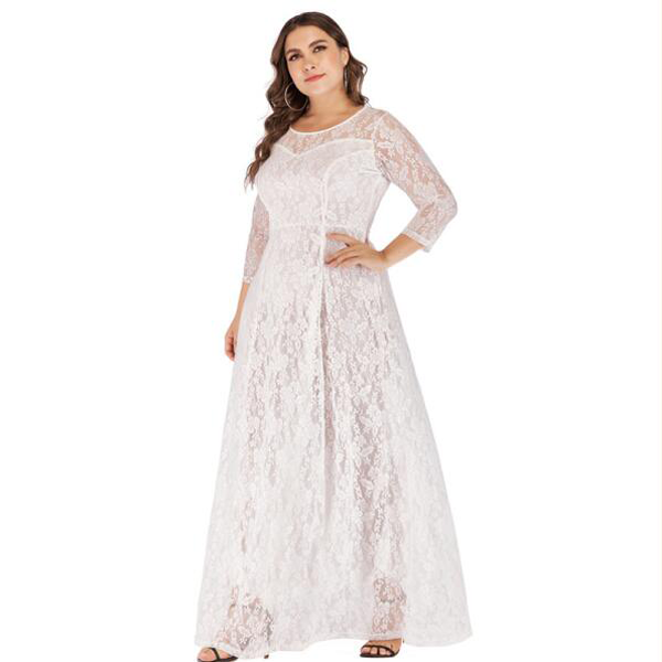 Women lace plus size maxi dress Elegant XL-6XL large size evening Party dress