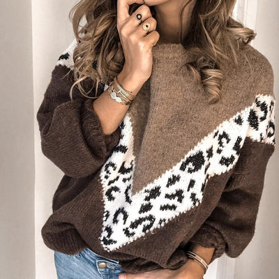 Round Neck Loose Stitching Color Sweater