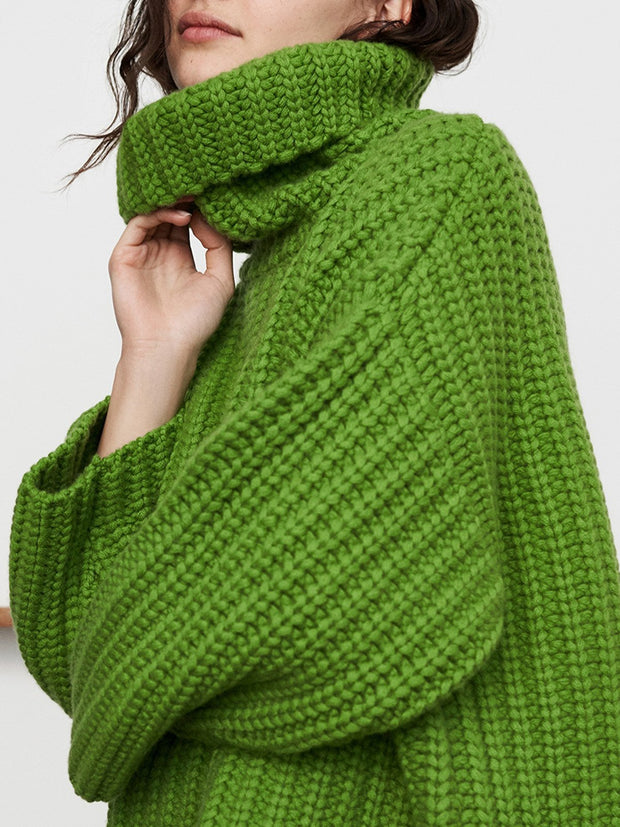 Green Turtleneck Knitted Casual Solid Sweater