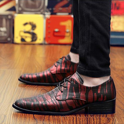 Pointed Toe Dress Shoes Fashion Print Lace Up Flats Casual Oxford Shoes