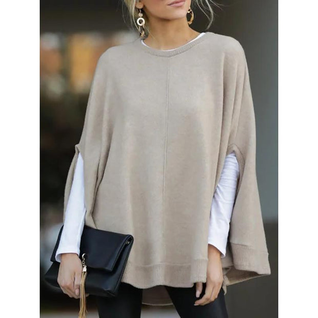 Casual Knitted Fall Solid Blouse