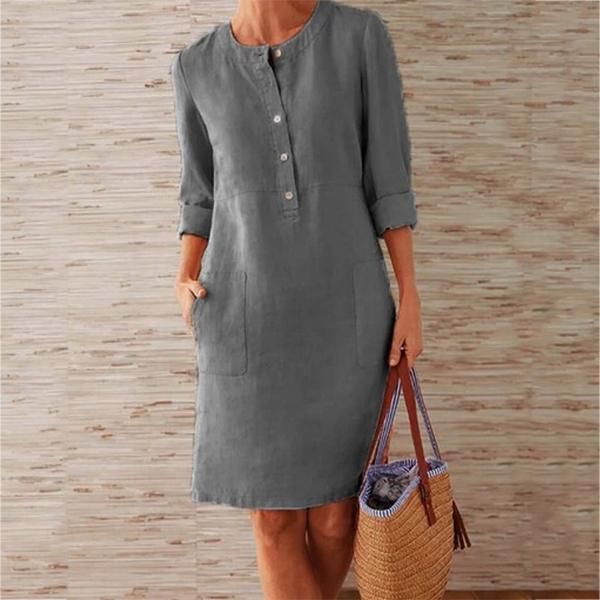 Solid Color Stand Collar Long Sleeve Buttoned Dress