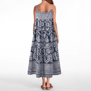 Women Plus Size Strappy Loose Cotton Linen Casual Summer Vintage Printed Party Beach Dress