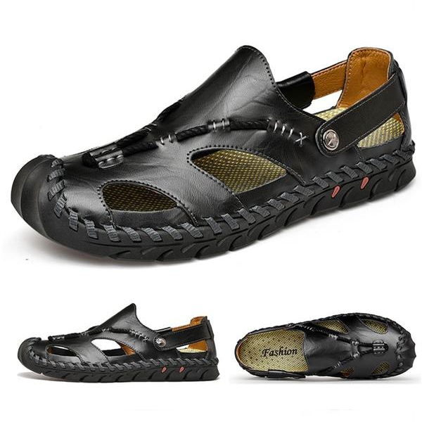 Men's Rome Genuine Leather Sandals Slip On Breathable Beach Sandal Shoes