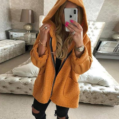 Daily Casual Zipper Solid Color Hooded Coats