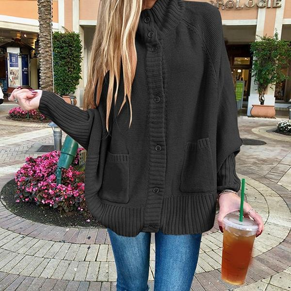 Casual Solid Buttons Plus Size Coats
