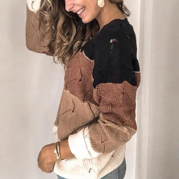 Women's V-Neck Stitching Sweater