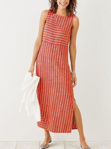 Crew Neck Sleeveless Casual Striped Casualdress