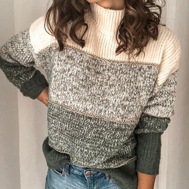 Casual Turtleneck  Stitching Pullover