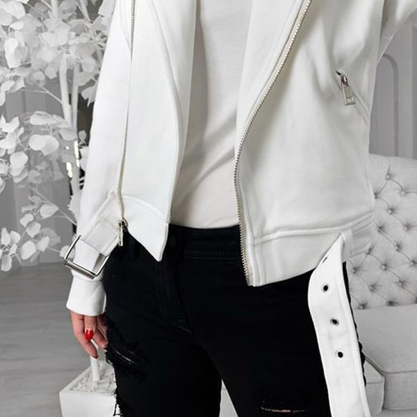 Fashion Lapel Zipper Motorcycle Jacket
