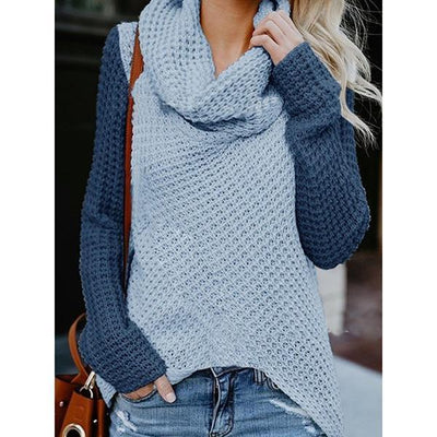 Patchwork High Neck Irregular Sweaters