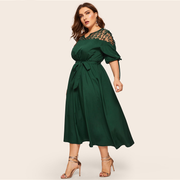 Plus Size V Neck Contrast Mesh Dress Women Elegant Cuff Lace Up Belted Dresses