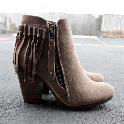 Boho Fringe Ankle Booties Winter boots