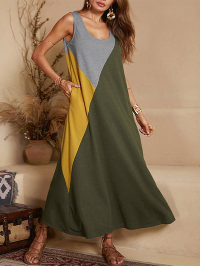 Casual Sleeveless Round Neck Plus Size Dress With Pockets