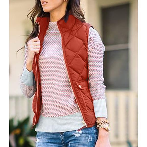 Women Zipper Fall Sleeveless Coats