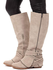 Wide Calf Fashion Thigh-high Bandage Low-heel Zipper Boots Shoes Mid Calf