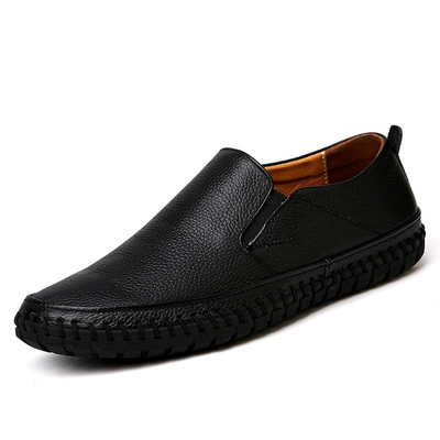 Men Genuine Leather Shoes Slip On Black Shoes Real Leather Loafers