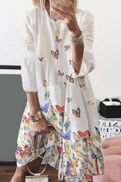 Butterfly Print 3/4 Sleeves Holiday Midi Dress