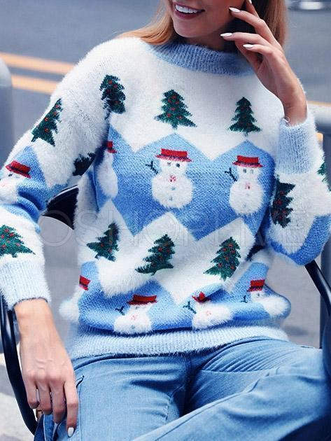 Loose Snowman Printed Knitting Sweater