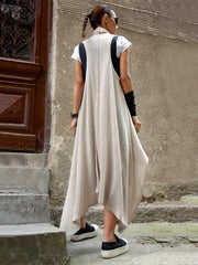Solid Split-joint Sleeveless Cardigan Outwear