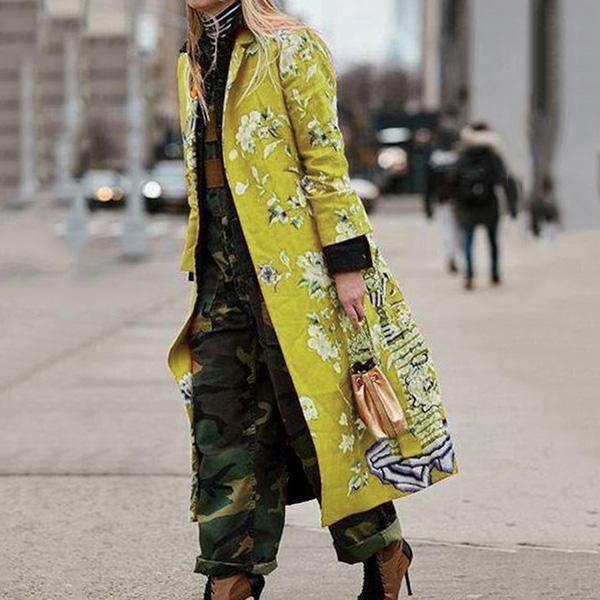 Street Fashion Floral Printed Pockets Coats