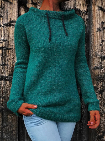 Boat Neck Knitted Long Sleeve Sweater