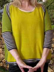 Yellow Knitted Stripes Crew Neck Casual Shirts & Tops