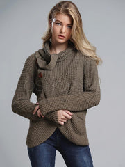 Loose Solid High-neck Knitting Sweater