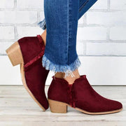 Low Heeled  Round Toe Casual Outdoor Ankle Boots