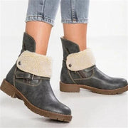 WOMENS LOW HEEL ZIPPER ANKLE SNOW BOOTS