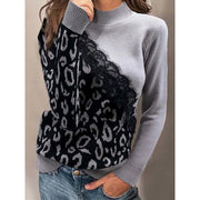Leopard Printed Turtleneck Long Sleeve Casual Sweaters