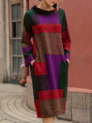 Geometric Cotton Pockets Long Sleeve Fall Dresses