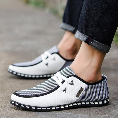 Men's Comfort Shoes Light Soles Spring / Fall Casual / British Daily Outdoor Loafers & Slip-Ons Walking Shoes PU Breathable Wear Proof Green / Blue / White Color Block