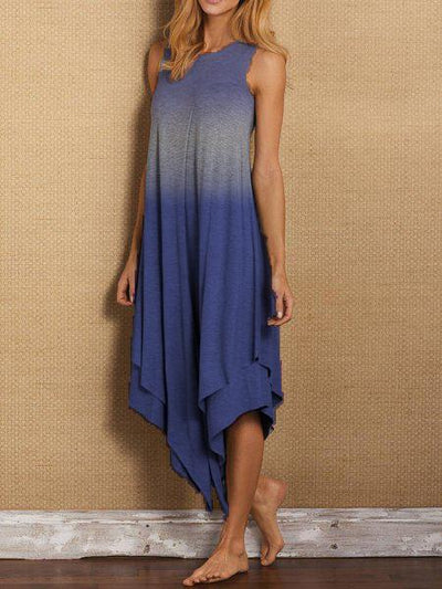 Crew Neck Sleeveless Cotton-Blend Casualdress