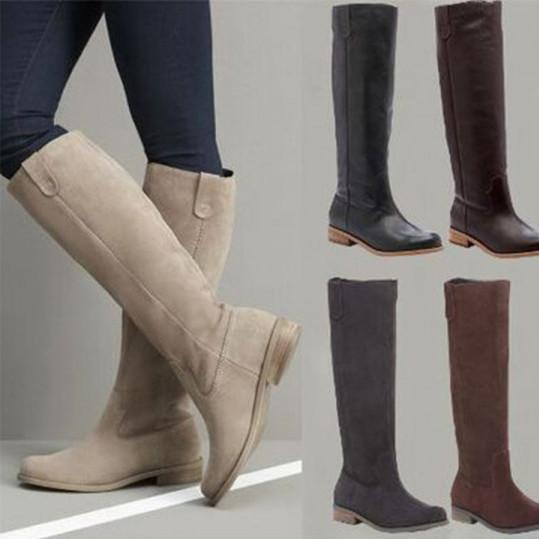 Plain Flat Velvet Round Toe Casual Knee High Flat Boots