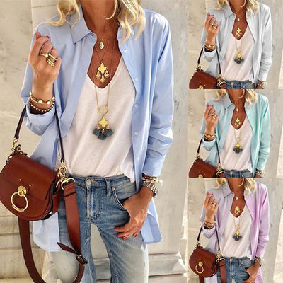 Women's Casual Solid Color Long Shirt