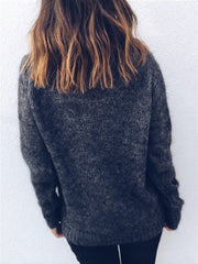 Long Sleeve Cotton-Blend Plain Sweater