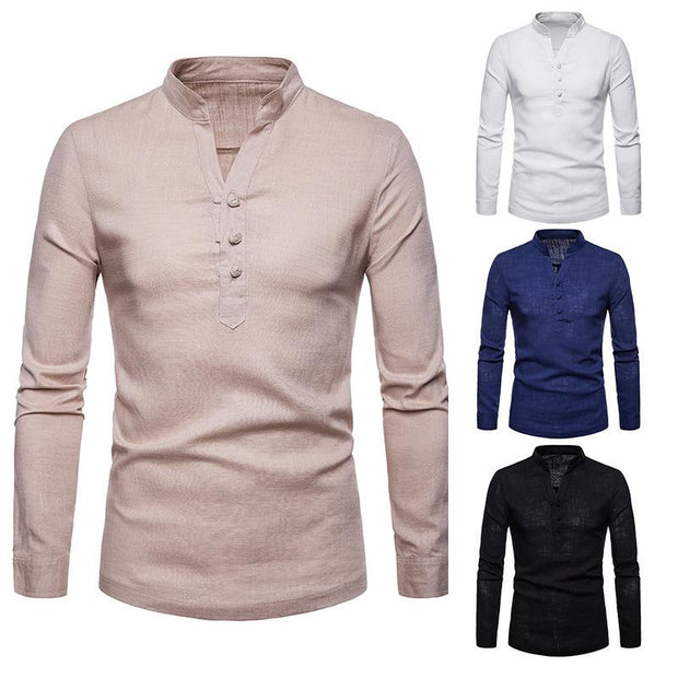 Solid Color Slim Large Size Long-Sleeved Shirt