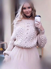 Knitting Loose Solid Color Sweater Tops