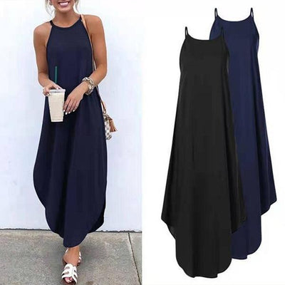 Women's Casual Hanging Neck Solid Color Dress