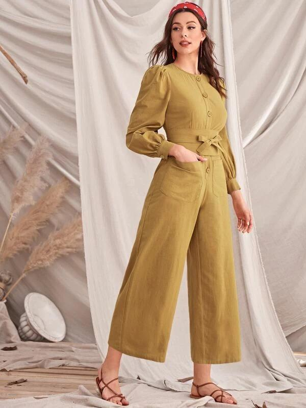 Button Front Belted Wide Leg Jumpsuit